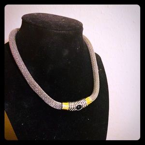 Chunky Silver-tone necklace with gold tone clasp